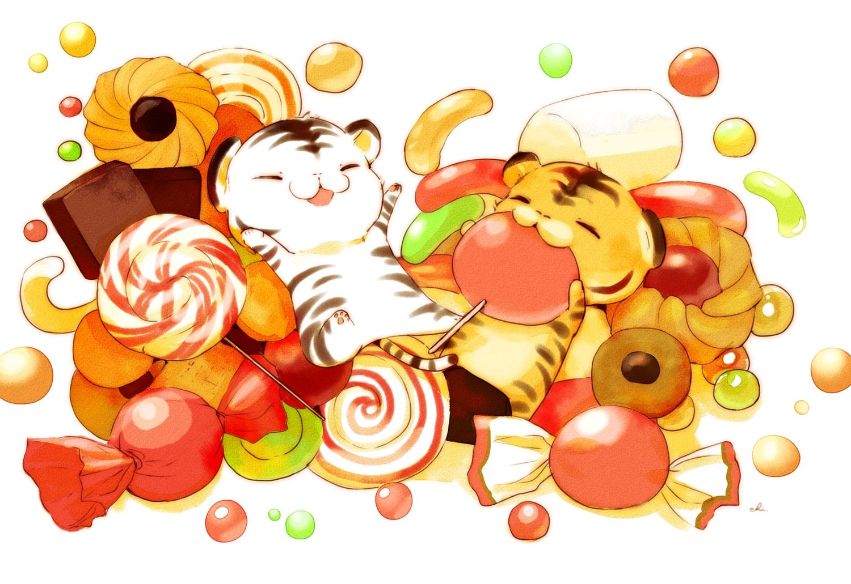 animal candy chai_(artist) chibi chocolate food halloween lollipop nobody original signed tiger