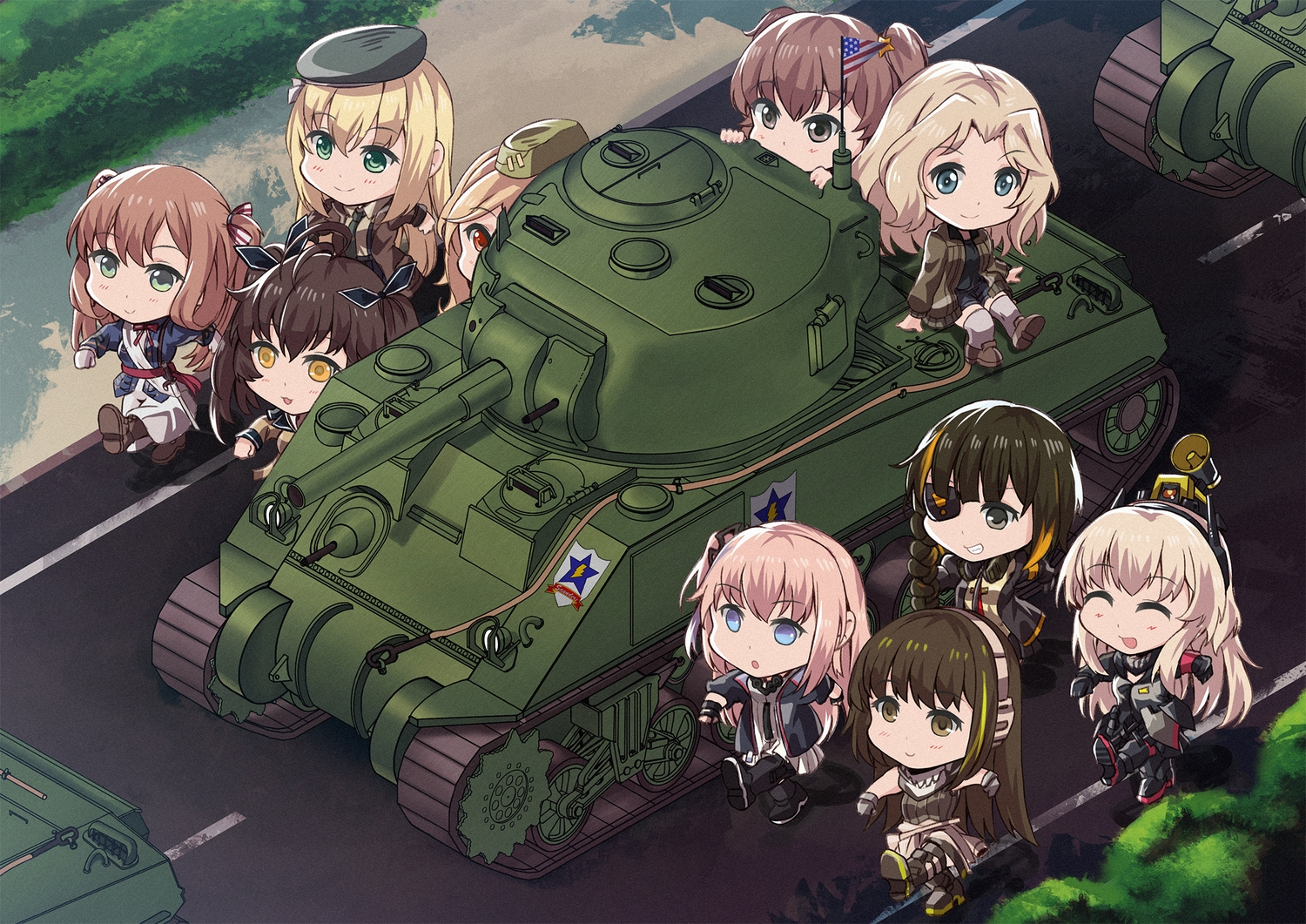 alisa_(girls_und_panzer) anthropomorphism aqua_eyes blonde_hair boots brown_eyes brown_hair chibi crossover eyepatch girls_frontline girls_und_panzer gloves gray_eyes group hat headphones kay_(girls_und_panzer) long_hair m14_(girls_frontline) m16a1_(girls_frontline) m1_garand_(girls_frontline) m2hb_(girls_frontline) m4a1_(girls_frontline) m4_sopmod_ii_(girls_frontline) persocon93 pink_hair ponytail red_eyes ribbons ro635_(girls_frontline) robot short_hair springfield_(girls_frontline) st_ar-15_(girls_frontline) stockings twintails uniform yellow_eyes
