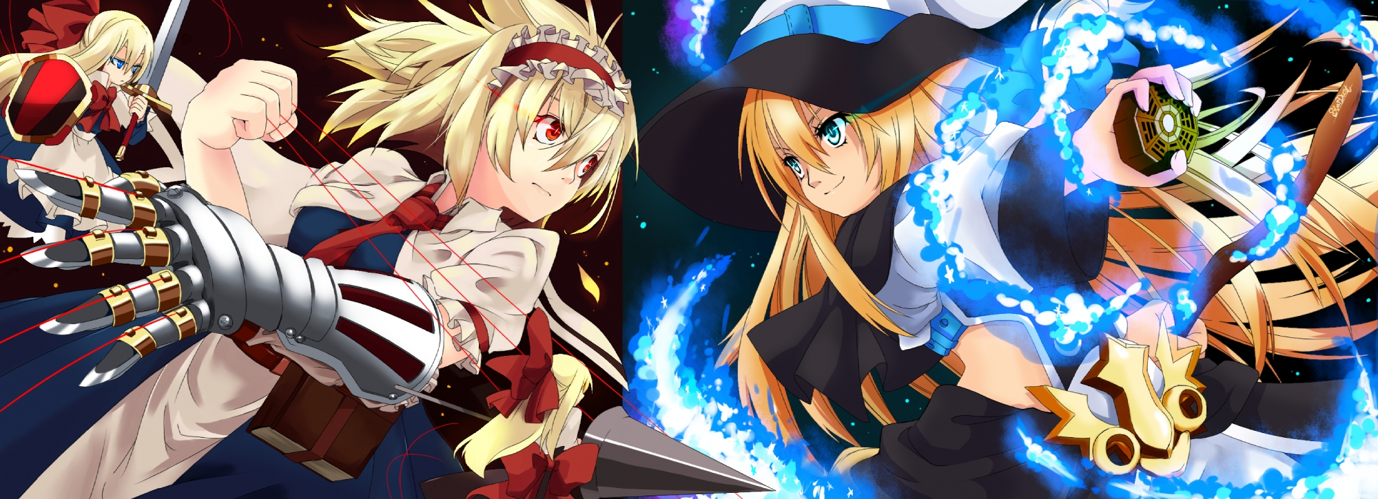 alice_margatroid armor blonde_hair blue_eyes book bow doll dress dualscreen gloves hat headdress kirisame_marisa long_hair mage magic red_eyes shanghai_doll shijimi-sama short_hair spear sword tie touhou weapon witch