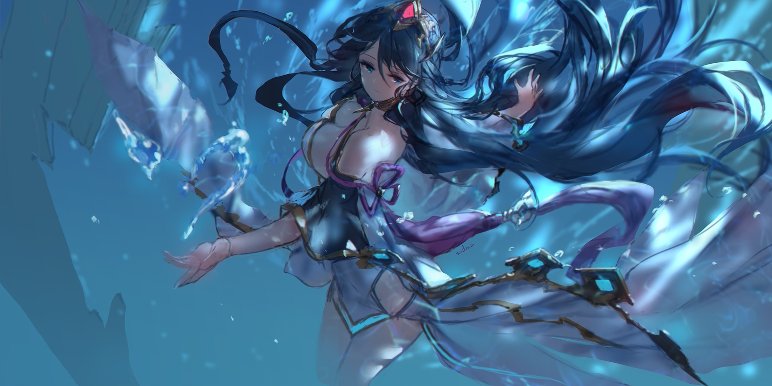 long_hair signed sketch swd3e2 tagme_(character) underwater water