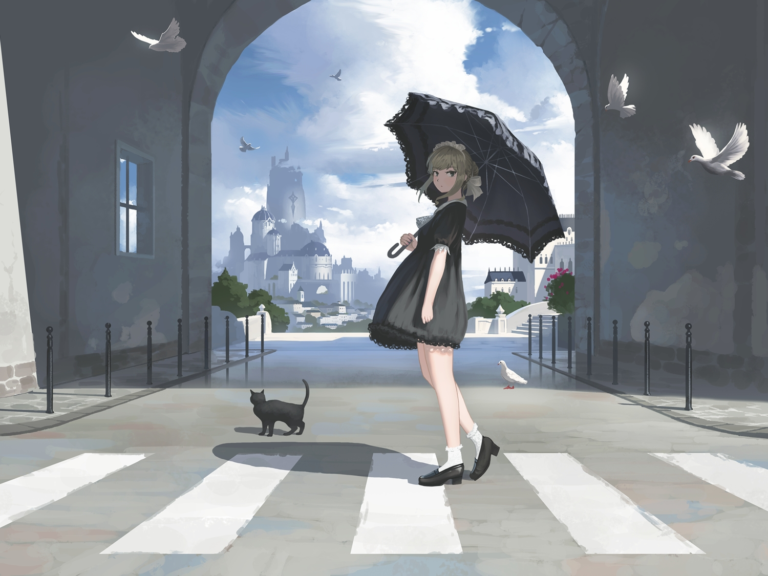 animal bird building cat city clouds dress goth-loli headdress lolita_fashion nauimusuka original scenic sky socks umbrella