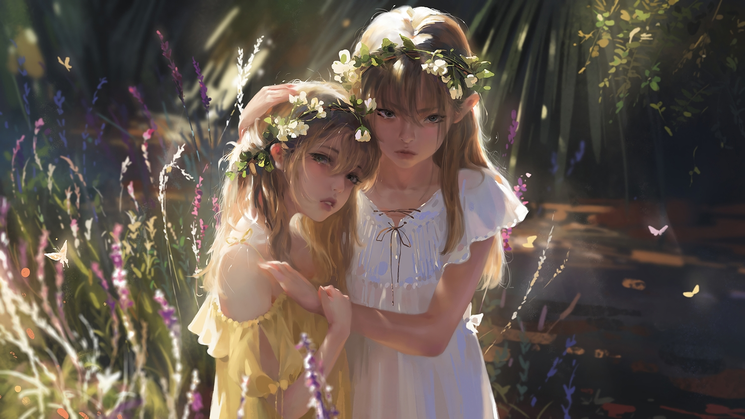 2girls blonde_hair blue_eyes butterfly dress flowers forest g-tz headdress hug loli long_hair original realistic summer_dress tree