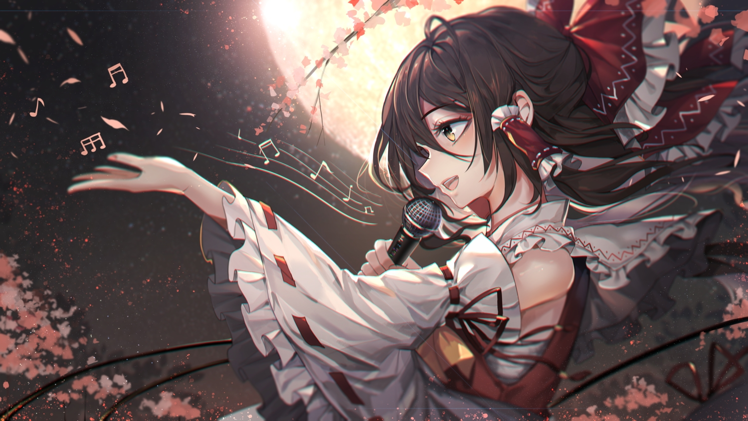bow brown_hair hakurei_reimu japanese_clothes long_hair microphone miko moon music night touhou unity_(ekvmsp02) yellow_eyes
