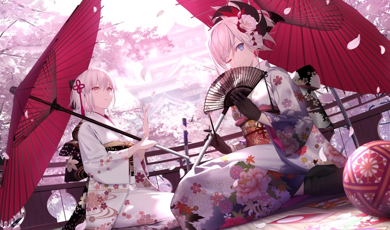 2girls fate/grand_order fate_(series) flowers japanese_clothes miyamoto_musashi_(fate/grand_order) okita_souji_(fate) shinooji umbrella
