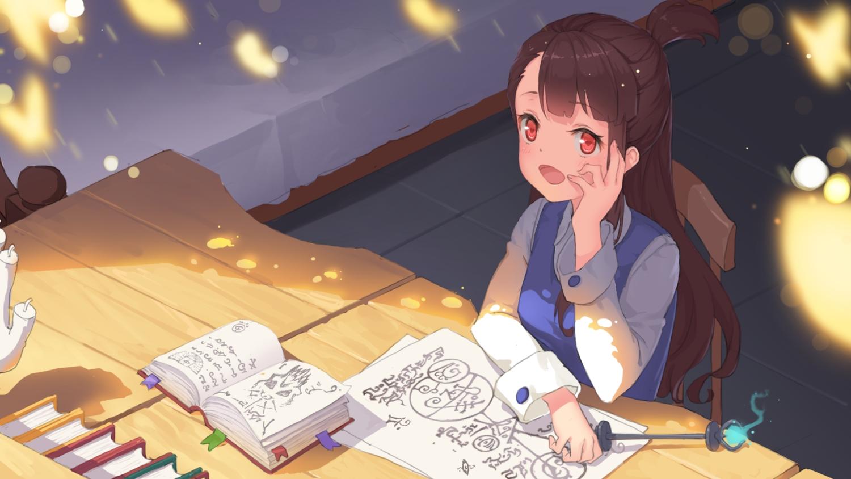 book brown_hair kagari_atsuko little_witch_academia long_hair paper red_eyes tagme_(artist)