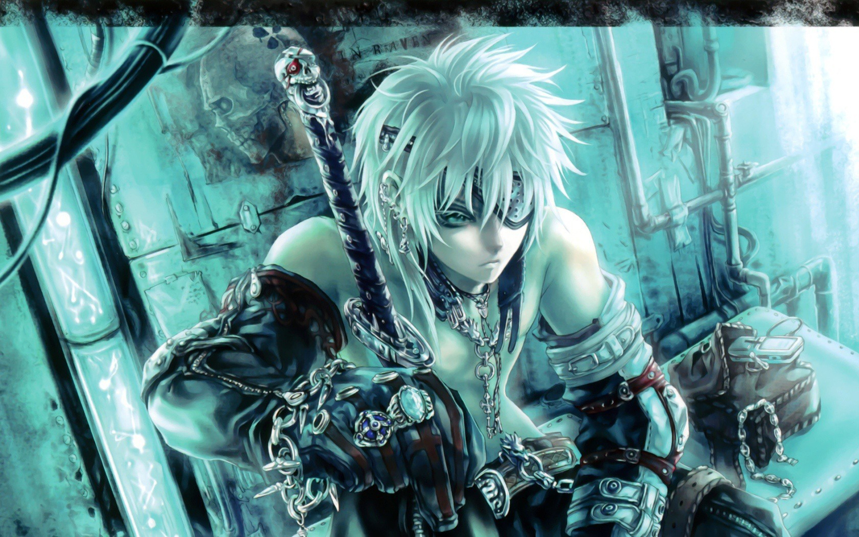 all_male blue_eyes eyepatch gloves male original phone short_hair sword third-party_edit weapon white_hair