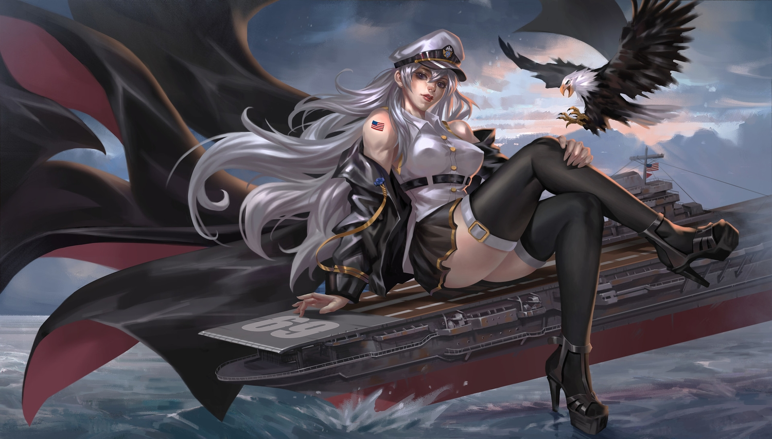 animal anthropomorphism azur_lane bird boat breasts combat_vehicle enterprise_(azur_lane) erect_nipples gray_hair hat junqi_mu long_hair purple_eyes realistic skirt thighhighs water