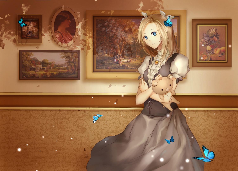 blonde_hair blue_eyes bow butterfly dress escente long_hair necklace original teddy_bear