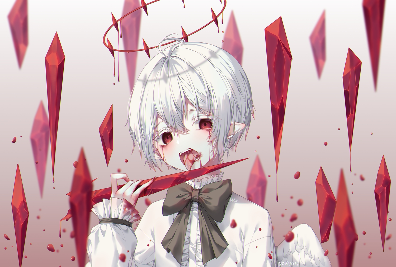 all_male blood male original pointed_ears red_eyes short_hair tagme_(artist) vampire white_hair wings