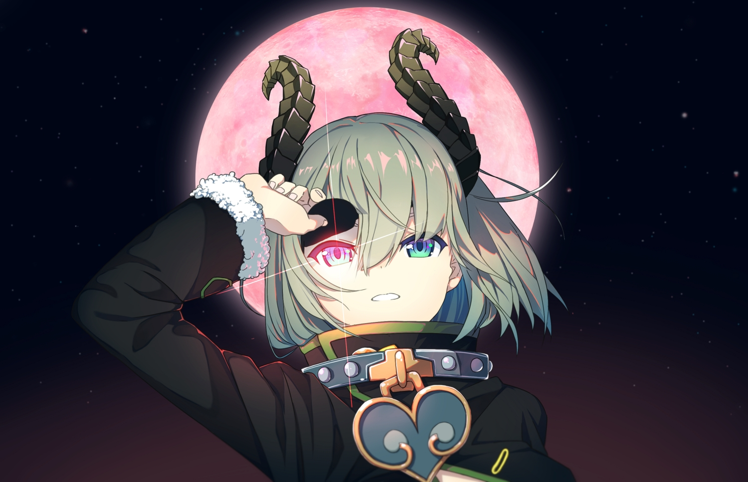 bicolored_eyes collar demon eyepatch gray_hair honey_strap horns moon sekishiro_mico short_hair sky stars tunamayochan