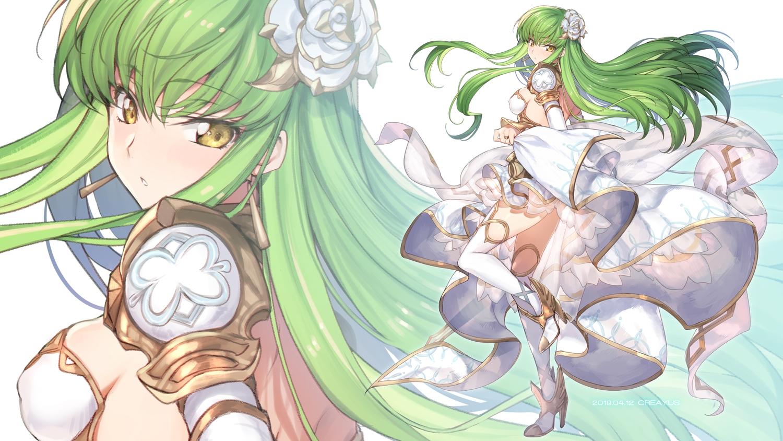 armor breasts cc code_geass creayus dress erect_nipples green_hair long_hair skirt_lift thighhighs yellow_eyes zoom_layer