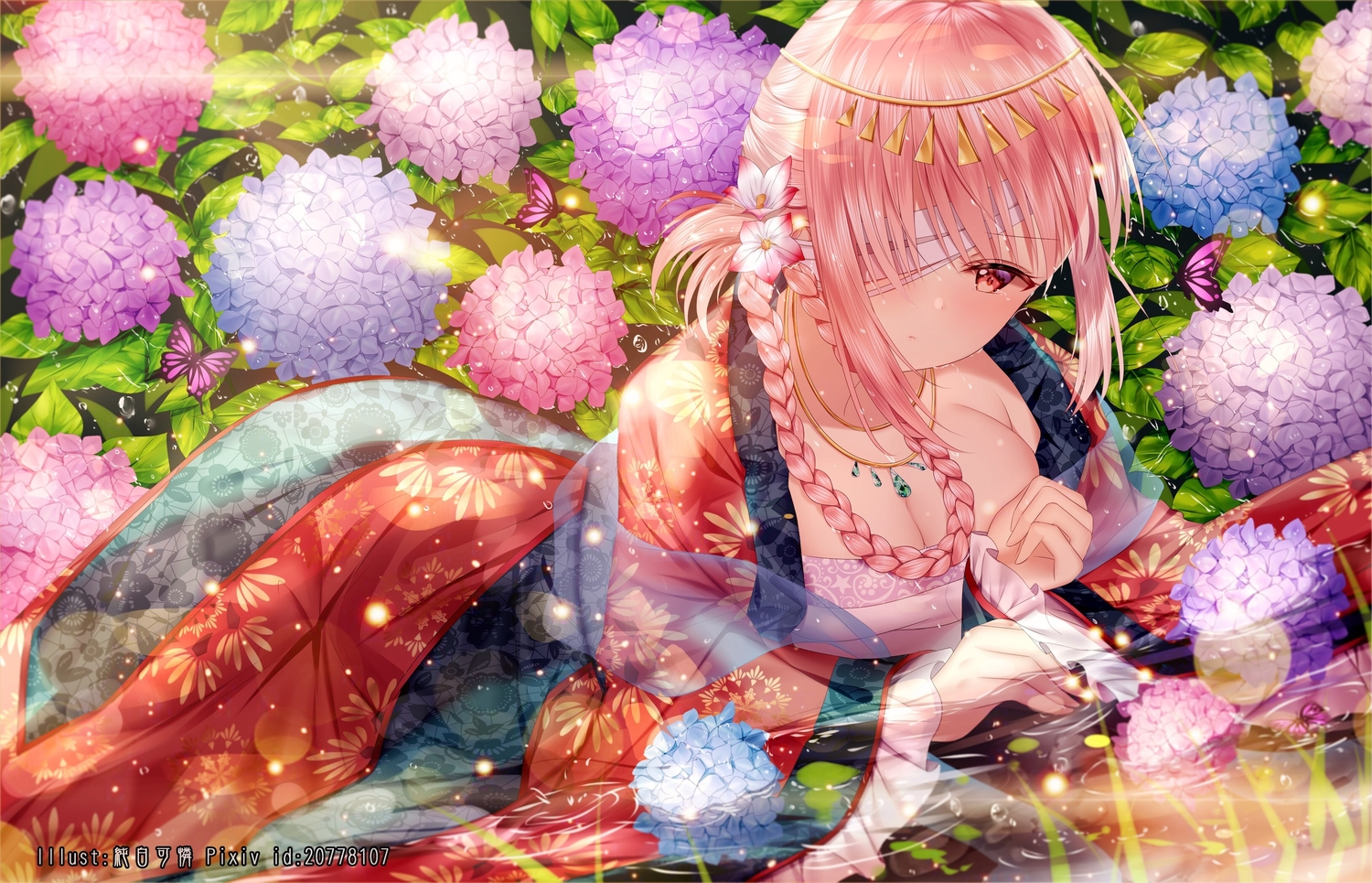 bandage braids breasts butterfly chinese_clothes cleavage eyepatch fate/grand_order fate_(series) florence_nightingale flowers headdress junpaku_karen long_hair necklace pink_eyes pink_hair see_through water watermark wet