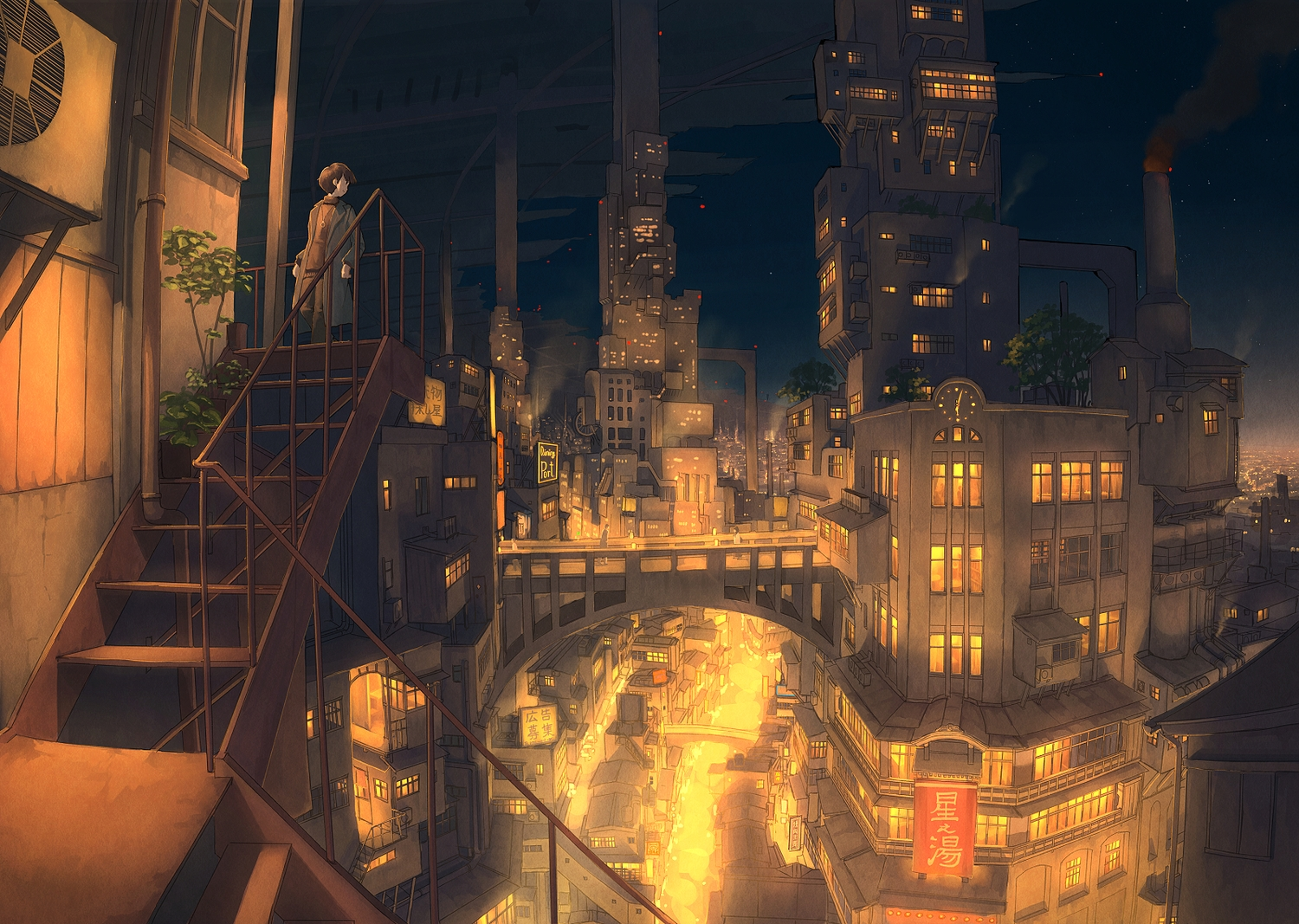 all_male brown_eyes brown_hair building city male necklace night original pochi_(poti1990) scenic short_hair stairs