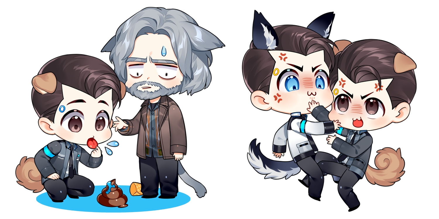 all_male animal_ears aqua_eyes blush brown_eyes brown_hair catboy cat_smile chibi connor_(detroit:_become_human) detroit:_become_human gray_hair hank_anderson ice_cream male robot short_hair suit tagme_(artist) tail tie waifu2x white