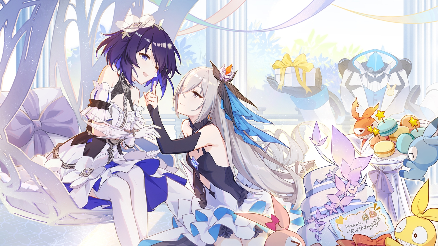 blue_eyes blue_hair bronya_zaychik dress elbow_gloves food gloves gray_eyes green_hair honkai_impact long_hair robot seele_vollerei short_hair shoujo_ai tagme_(artist) thighhighs