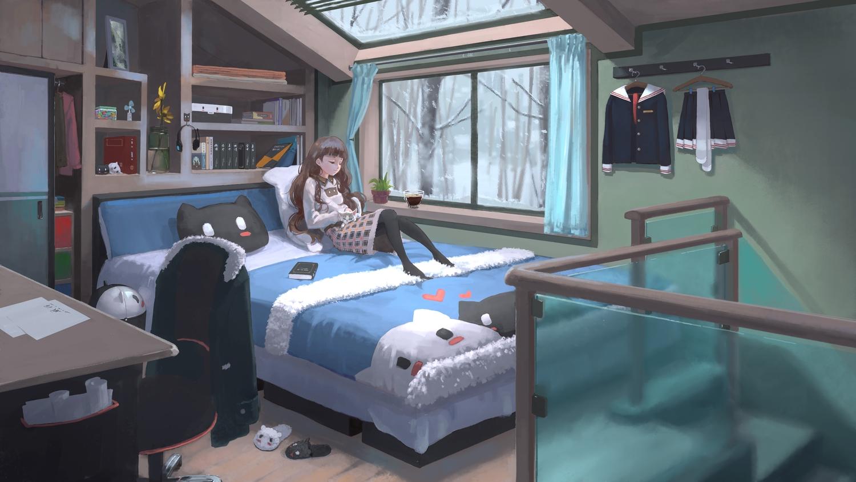 animal bed book brown_hair cat flowers headphones long_hair original pantyhose paper skirt stairs tree winter xiaobanbei_milk