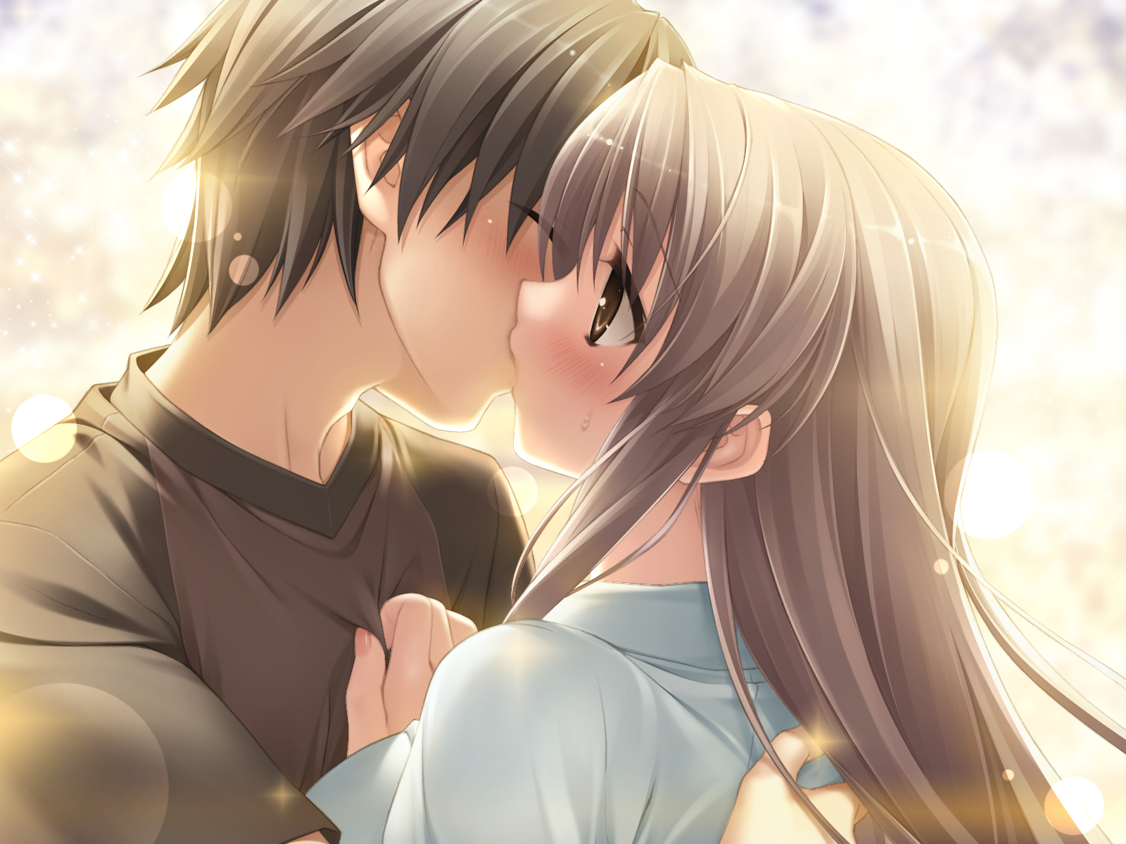 Anime kiss in love