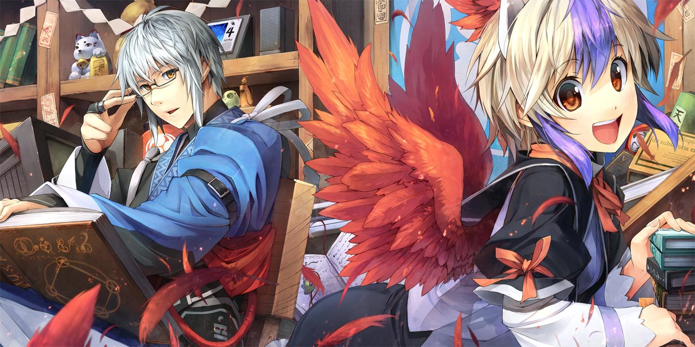 book eho_(icbm) feathers glasses gray_hair male morichika_rinnosuke short_hair tokiko touhou wings yellow_eyes