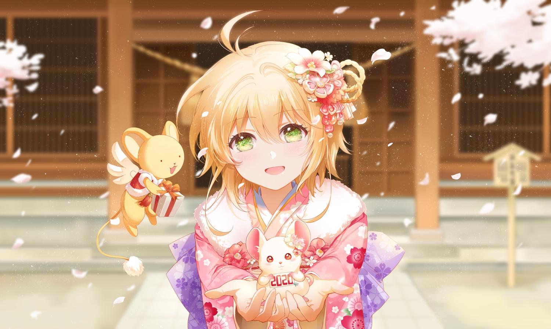 animal blonde_hair card_captor_sakura flowers green_eyes japanese_clothes kero kinomoto_sakura mouse petals shangguan_feiying short_hair