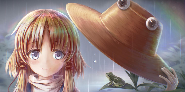 animal blonde_hair blue_eyes close frog hat kotatsu_(kotatu04) long_hair moriya_suwako rain rainbow touhou water