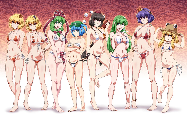 aki_minoriko aki_shizuha aliasing barefoot bikini breast_hold breasts cameltoe cleavage gradient group kagiyama_hina kawashiro_nitori kochiya_sanae loli moriya_suwako navel ootsuki_wataru shameimaru_aya swimsuit touhou yasaka_kanako