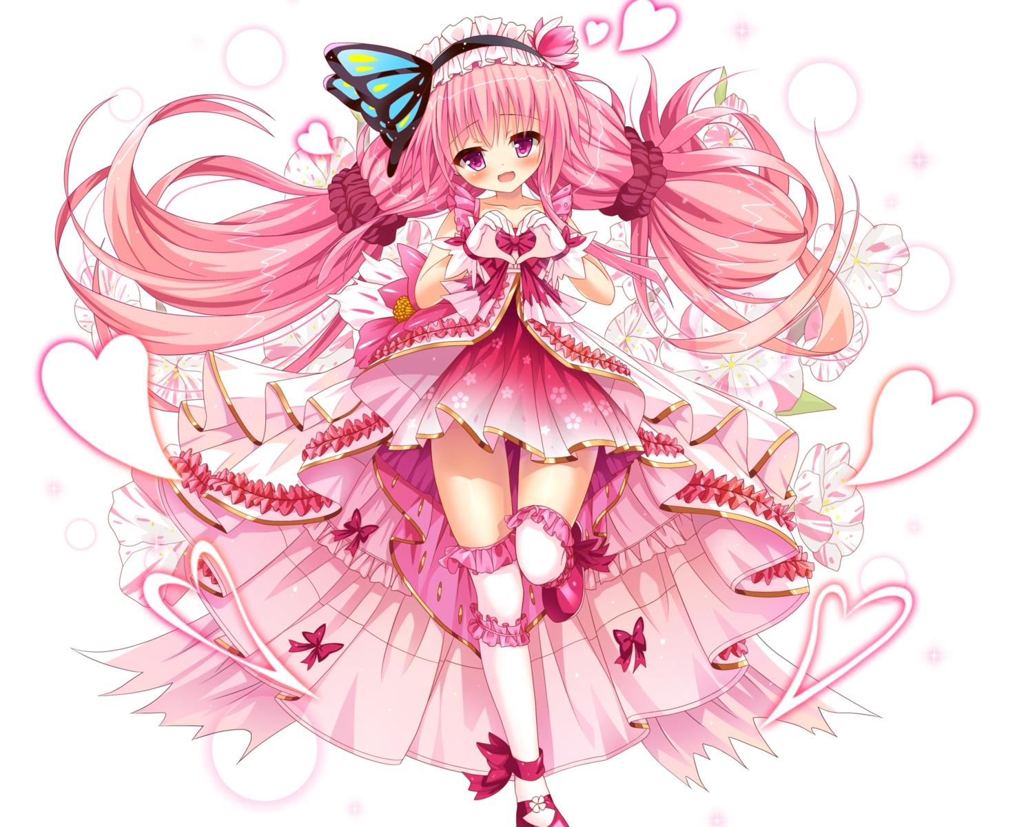 anthropomorphism bettle_(b_s_a_n) blush bow cropped dress flower_knight_girl flowers gloves hanamomo_(flower_knight_girl) headdress heart lolita_fashion long_hair pink_hair purple_eyes thighhighs white zettai_ryouiki