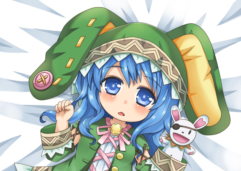 blue_eyes blue_hair blush bunny chibi date_a_live doll eyepatch greenteaneko hoodie long_hair puppet tears yoshino_(date_a_live) yoshinon_(date_a_live)