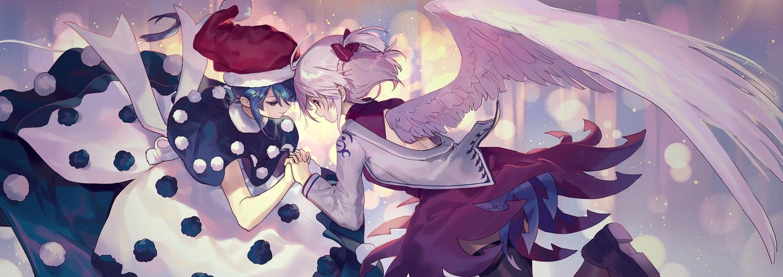 2girls ainy77 blue_hair bow christmas doremy_sweet dress hat kishin_sagume pink_eyes pink_hair santa_costume santa_hat short_hair touhou wings