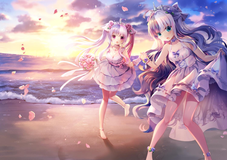 2girls anthropomorphism barefoot beach bow clouds dress flowers green_eyes long_hair m1 m2 mvv pink_eyes rose sky sunset tiara twintails water zhanjian_shaonu