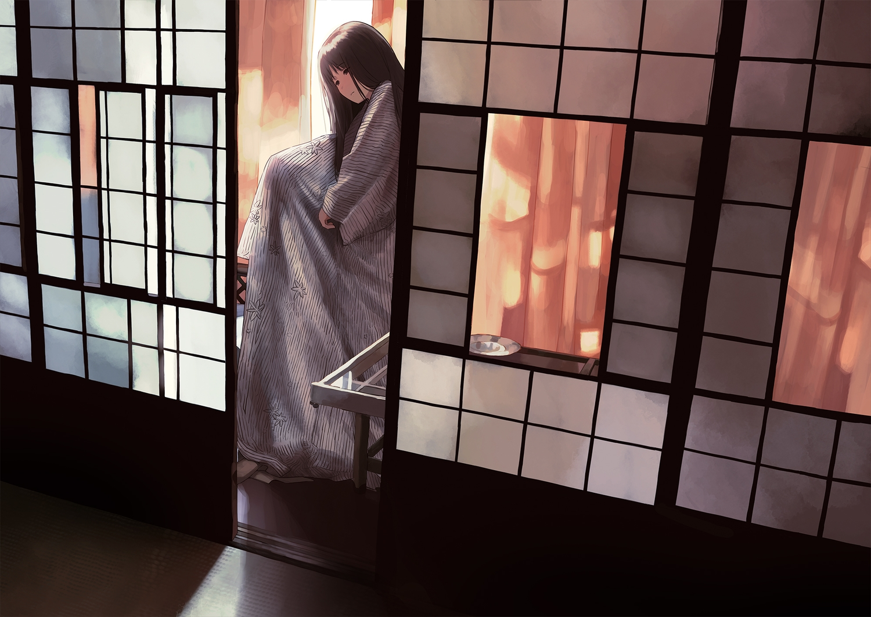 brown_eyes brown_hair japanese_clothes long_hair morifumi original yukata