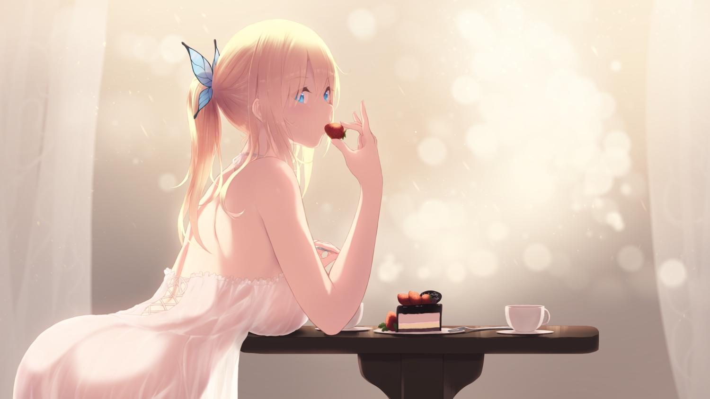 aqua_eyes ass blonde_hair boku_wa_tomodachi_ga_sukunai cait cake dress food fruit kashiwazaki_sena long_hair ponytail see_through strawberry summer_dress