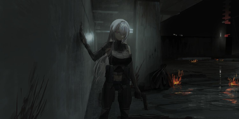 ak15_(girls_frontline) anthropomorphism armor blue_eyes chihuri405 dark fire girls_frontline gloves gray_hair gun long_hair navel weapon