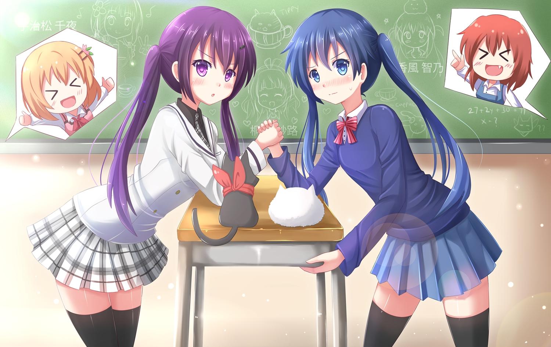 gochuumon_wa_usagi_desu_ka? hoto_cocoa inokuma_yuko kazenokaze kiniro_mosaic komichi_aya long_hair nichijou sakamoto_(nichijou) school_uniform tedeza_rize tippy_(gochiusa) twintails