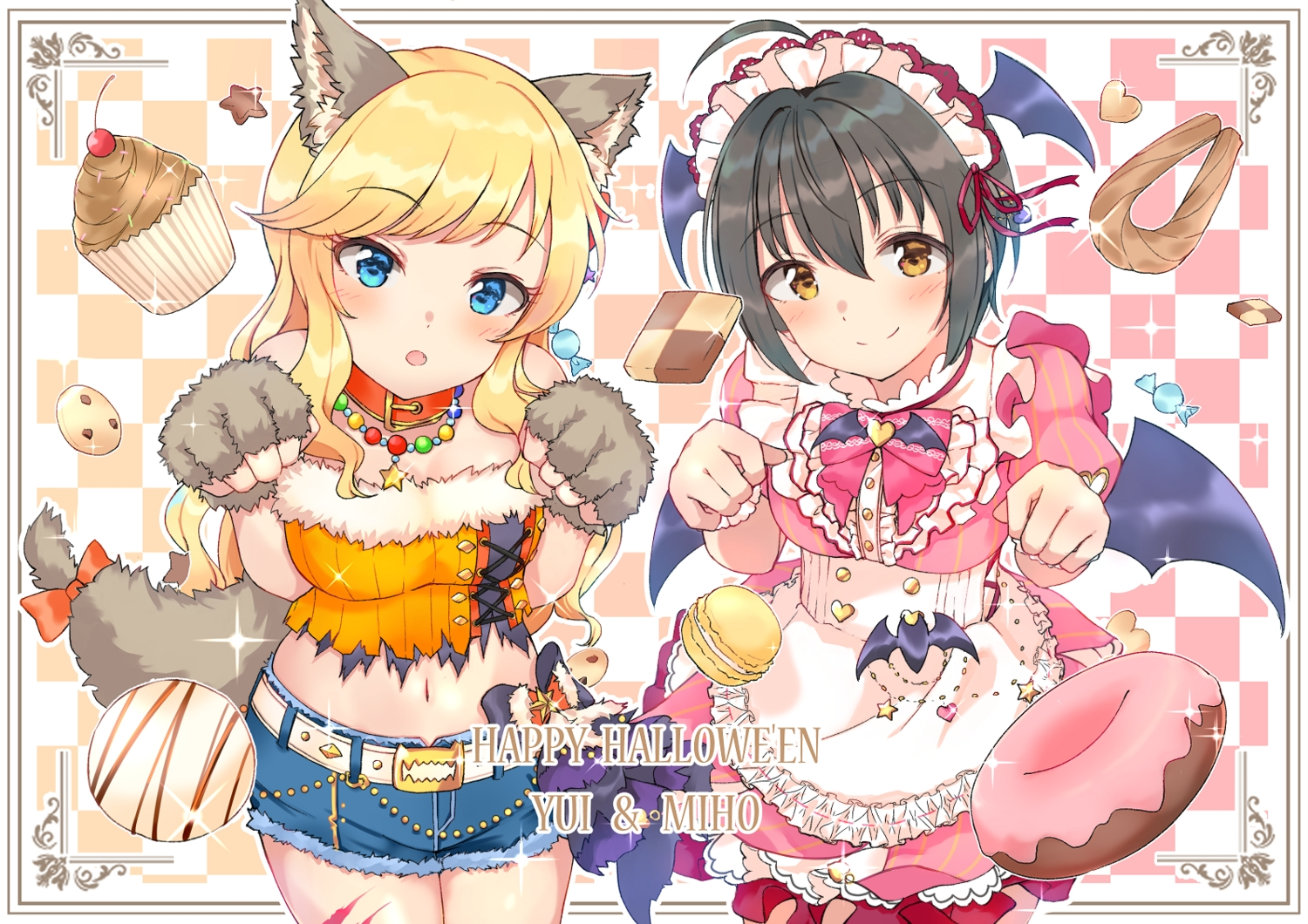 2girls animal_ears apron black_hair blue_eyes blush bow brown_eyes candy cherry dress food fruit gloves headdress idolmaster idolmaster_cinderella_girls kohinata_miho lolita_fashion long_hair maid necklace ootsuki_yui ribbons shiitake_taishi shorts tail waitress wings wolfgirl