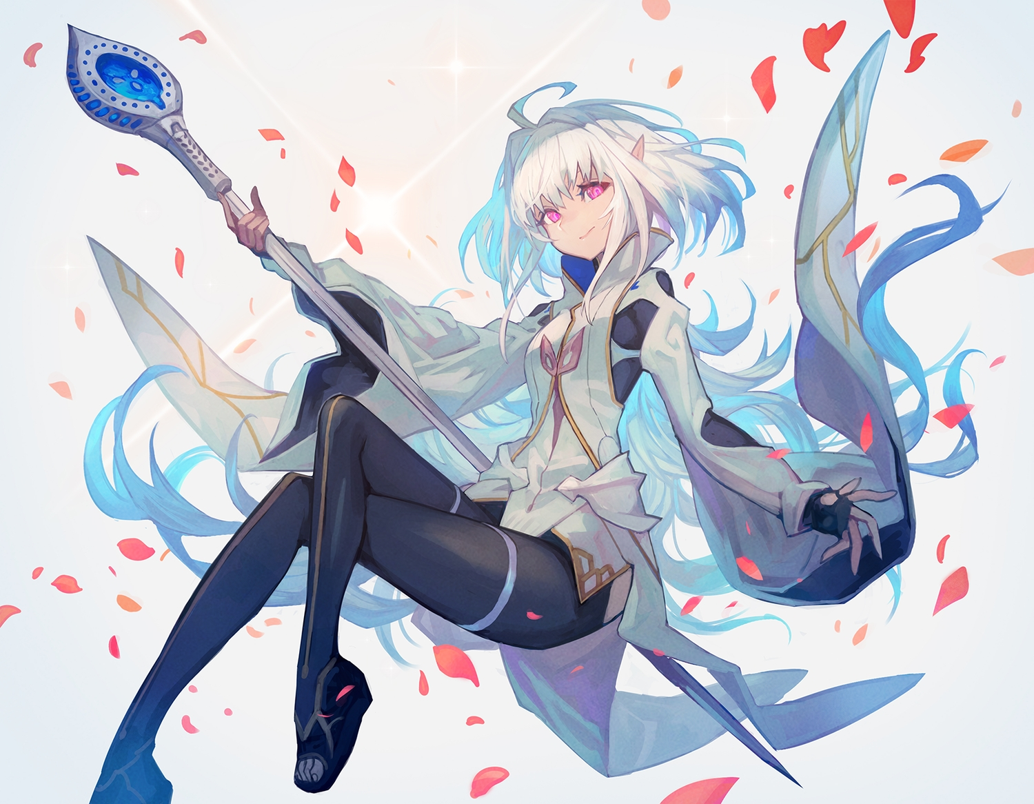 fate/grand_order fate_(series) gloves lack merlin_(fate/prototype) petals pink_eyes pointed_ears short_hair white_hair