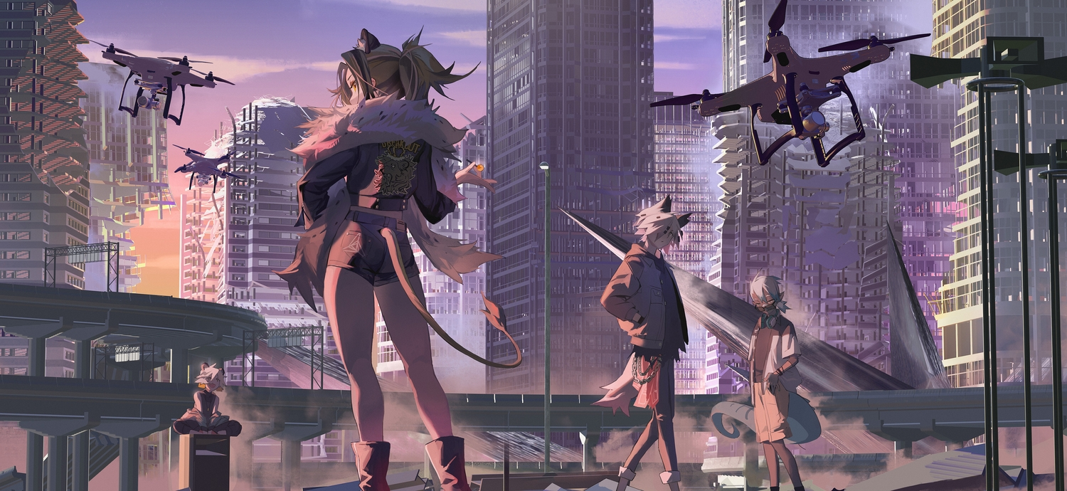 aircraft animal_ears arknights brown_hair building catgirl city dark_skin ethan_(arknights) group male ponytail short_hair shorts siege_(arknights) sunset tagme_(character) tail white_hair yetecong
