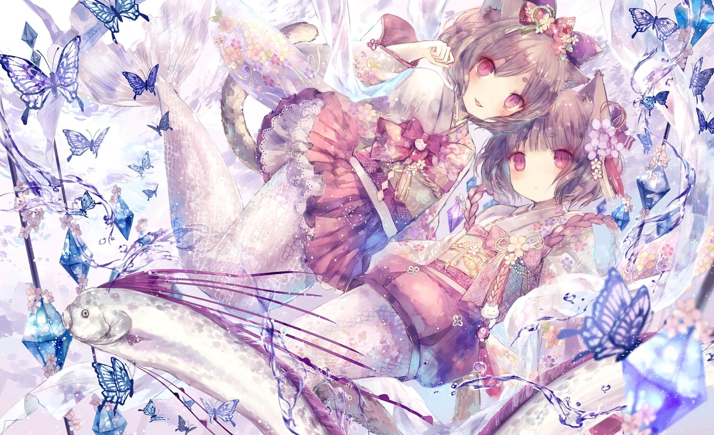 2girls animal animal_ears brown_hair butterfly catgirl fish japanese_clothes kimono mermaid onineko original red_eyes short_hair tail waifu2x