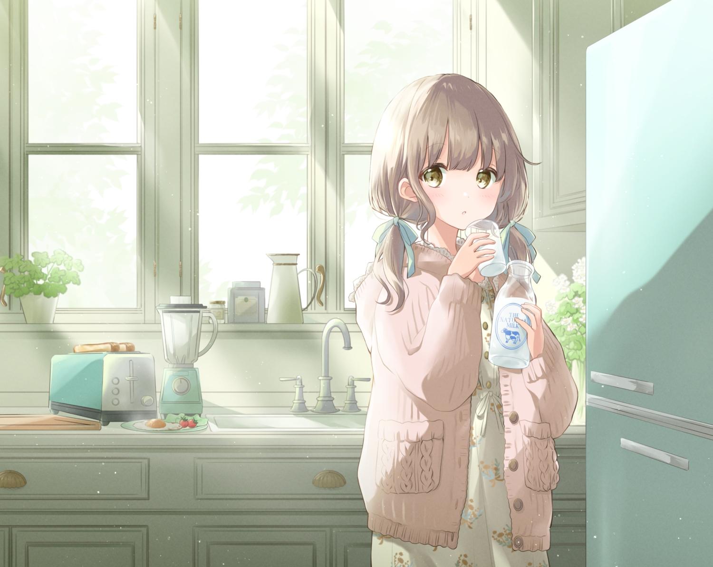blush brown_hair drink food hoshiibara_mato long_hair original twintails