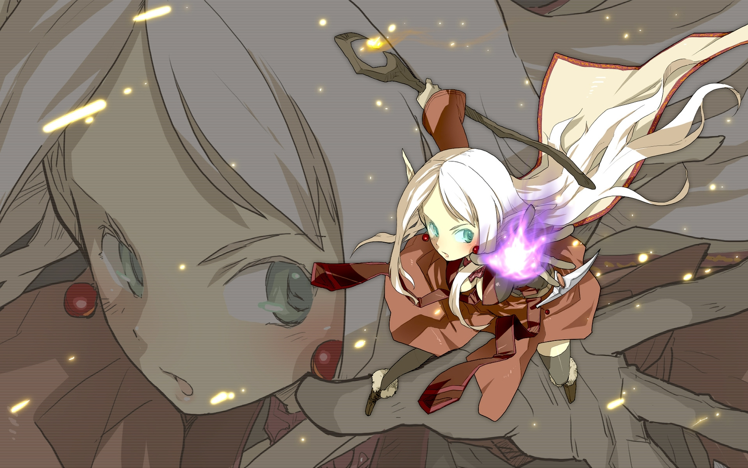 aqua_eyes blonde_hair long_hair magic miharu pointed_ears staff world_of_warcraft zoom_layer