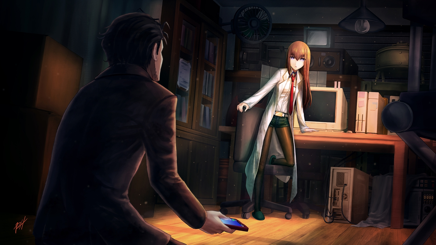 brown_hair computer dark long_hair makise_kurisu male okabe_rintarou pantyhose purple_eyes ranh short_hair shorts signed steins;gate tie