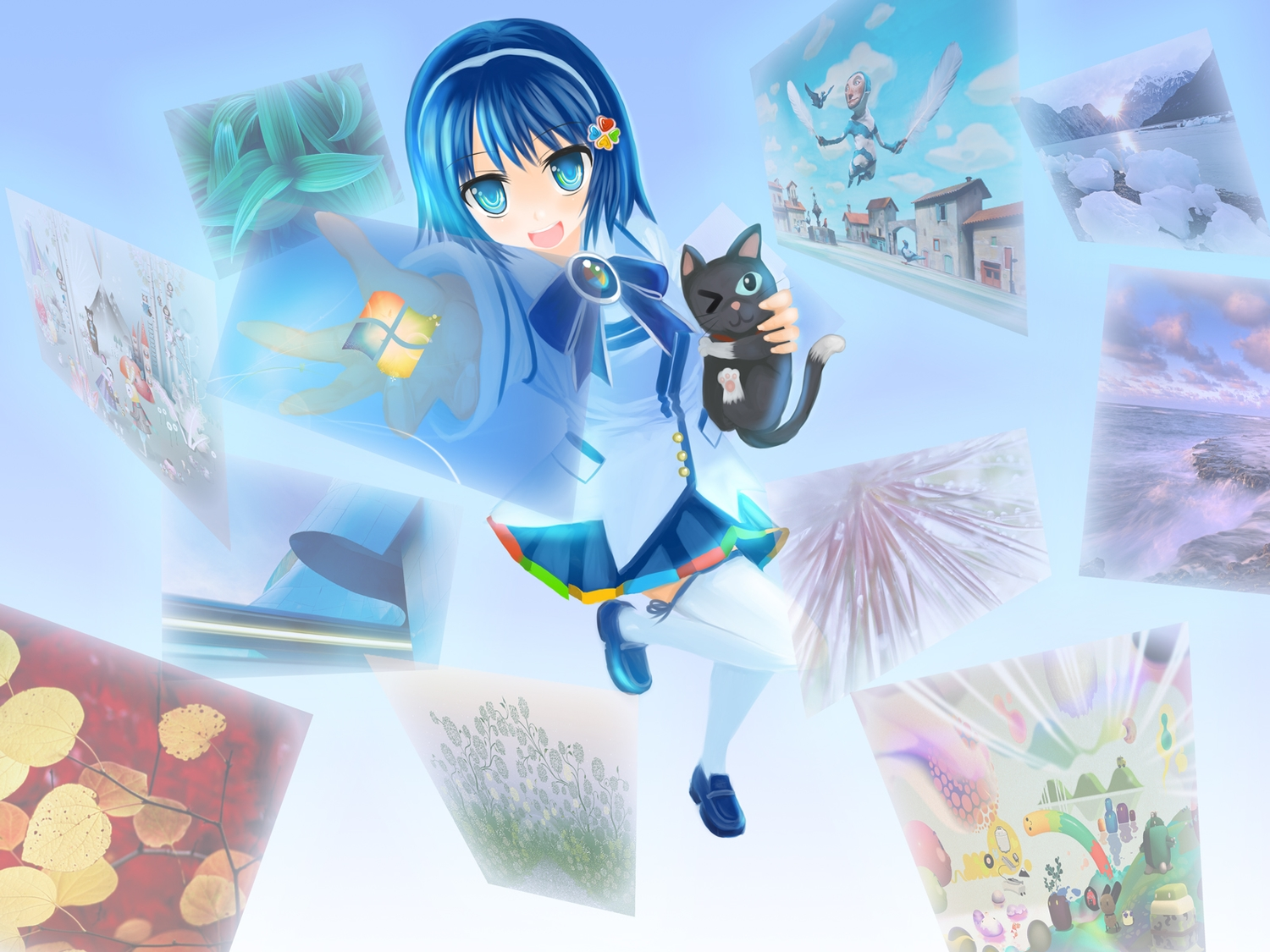 animal aqua_eyes blue_hair bow cat headband madobe_nanami microsoft os-tan photo short_hair skirt thighhighs windows wink
