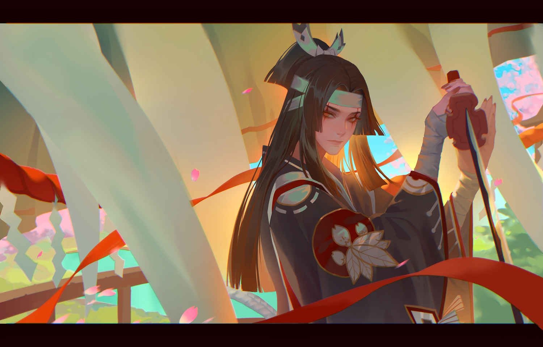 all_male bandage black_hair brown_eyes headband katana lian_yao long_hair male onikiri_(onmyouji) onmyouji petals sword weapon