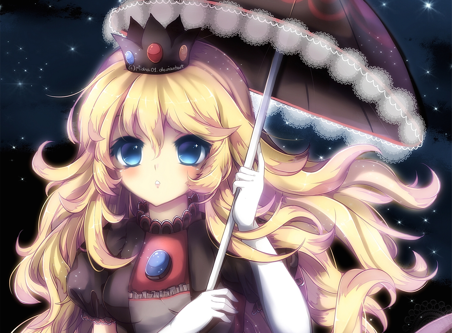 blonde_hair blue_eyes close cropped crown elbow_gloves gloves gothic midna01 polychromatic princess_peach stars super_mario umbrella watermark