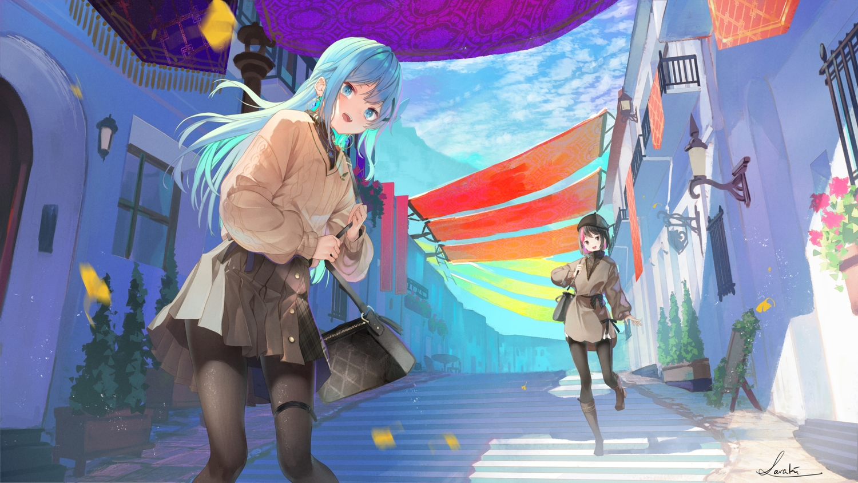 2girls aliasing aqua_eyes aqua_hair black_hair building city clouds garter hat long_hair original pantyhose saraki short_hair signed skirt sky stairs