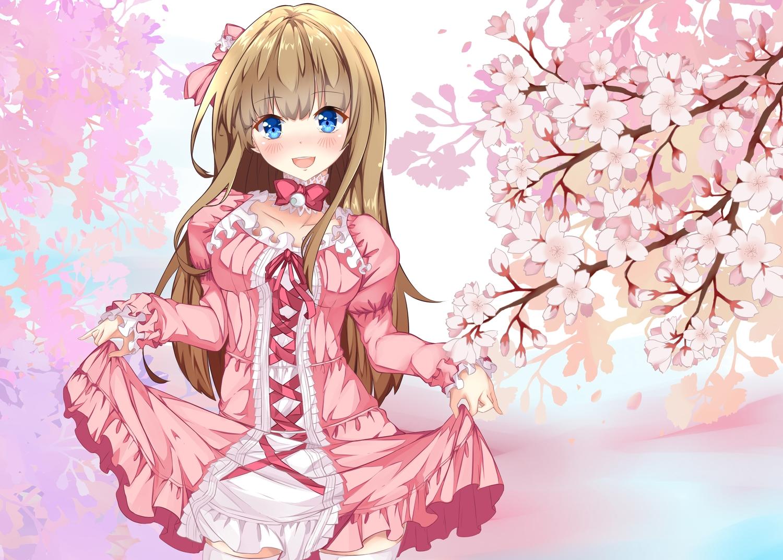 blue_eyes blush brown_hair cherry_blossoms dress flowers lolita_fashion long_hair original thighhighs ye_ye_(jasonbee2)