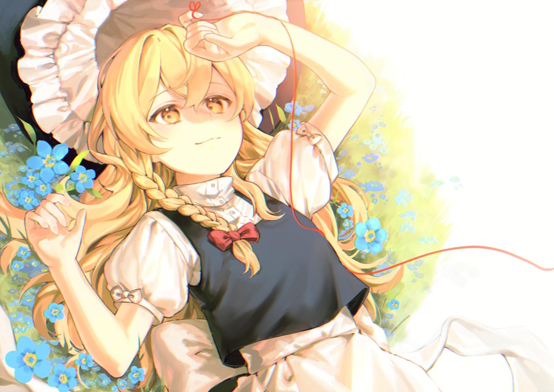 apron blonde_hair braids flowers grass hat jill_07km kirisame_marisa long_hair touhou white witch witch_hat yellow_eyes