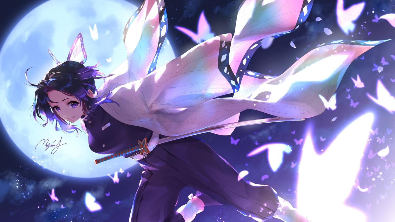 black_hair butterfly garter_belt japanese_clothes katana kimetsu_no_yaiba kochou_shinobu moon night purple_eyes rupinesu short_hair signed sky sword uniform weapon