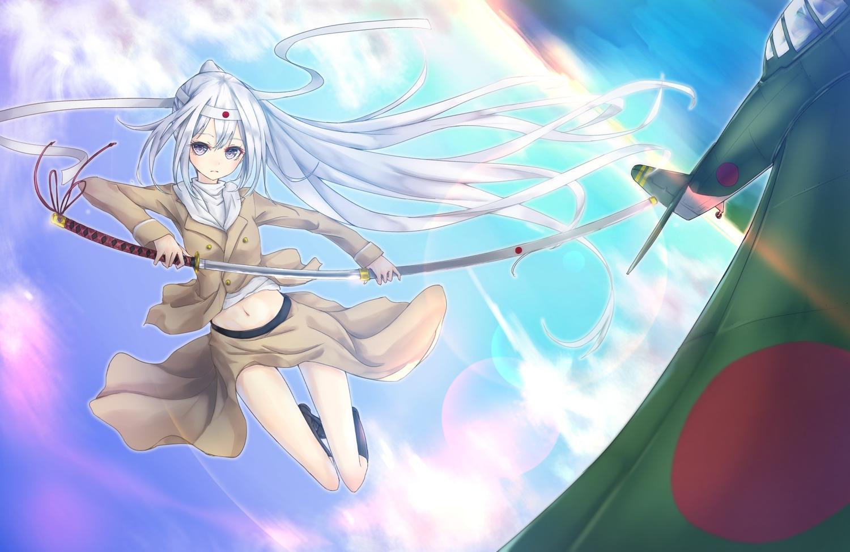 aircraft anthropomorphism blue_eyes blush equipments_fairy_(kancolle) kantai_collection katana kneehighs la+ long_hair navel ponytail skirt sky sword weapon white_hair