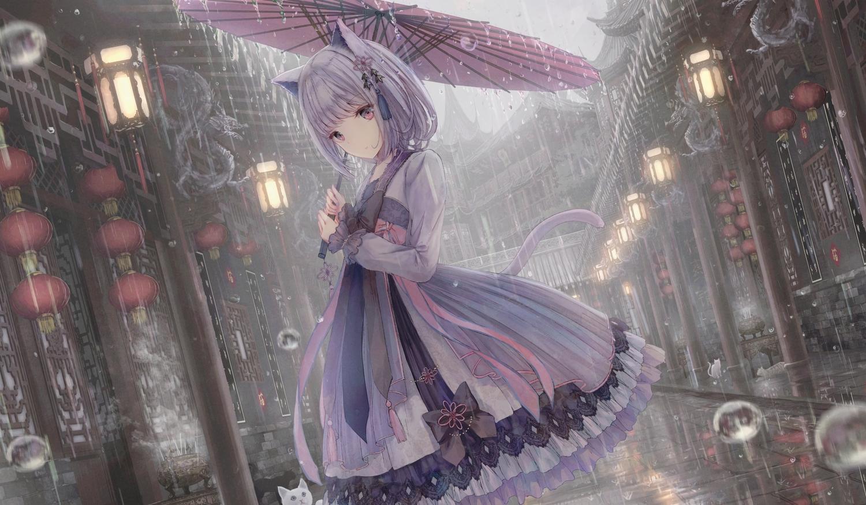 aliasing animal animal_ears apple228 building cat catgirl chinese_clothes city lolita_fashion original purple_hair rain tail umbrella water