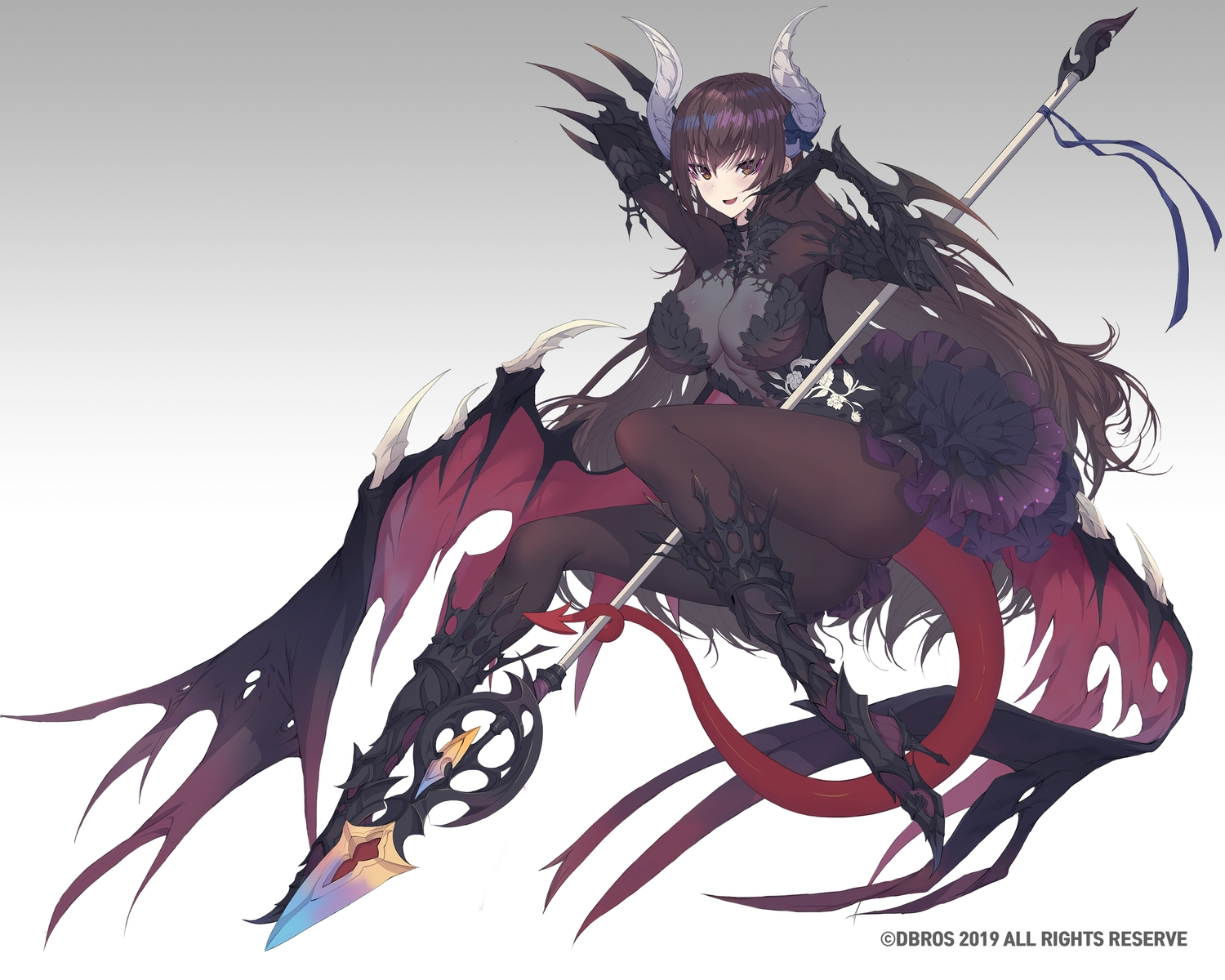 armor breasts brown_eyes brown_hair cleavage demon dress elbow_gloves gloves gradient horns long_hair original pantyhose rodway spear succubus tail weapon wings